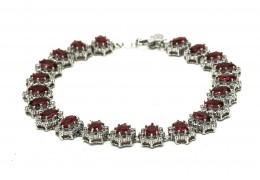 Elfi 925 Genuine White Gold Morning Blaze Bracelet WGB-25 Red