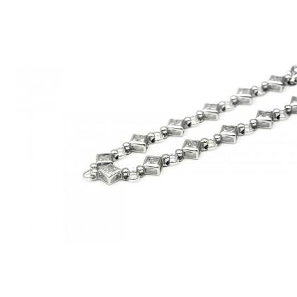 EElfi 925 Genuine White Gold Square Of Hope Bracelet WGB-30