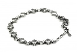 EElfi 925 Genuine White Gold Square Of Hope Bracelet WGB-30