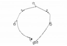 Elfi 925 Genuine Solid Silver Star Heart Anklet SA-16M
