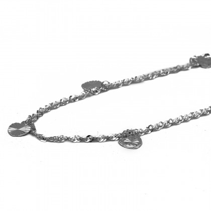 Elfi 925 Genuine Solid Silver Wave Bead Heart Anklet SA-15M