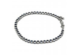 Elfi 925 Genuine White Gold Crystal Bead Charm Bracelet WGB-09(Blue)