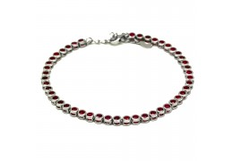 Elfi 925 Genuine White Gold Crystal Bead Charm Bracelet WGB-09(Red)