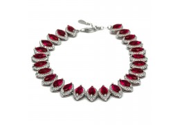 Elfi 925 Genuine White Gold Red Crystal Bead Charm Bracelet WGB-13