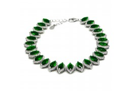 Elfi 925 Genuine White Gold Green Crystal Bead Charm Bracelet WGB-13