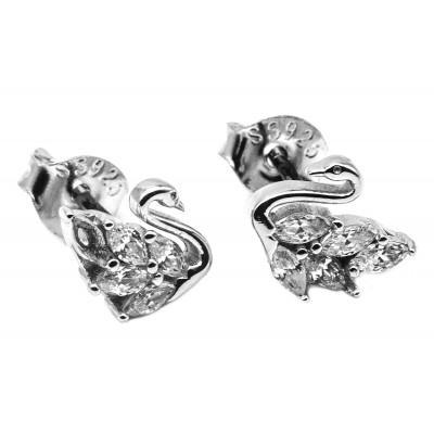 Elfi Genuine White Gold SIlver Stud Earrings SGE24 – Star Swan
