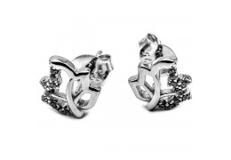 Elfi Genuine White Gold Silver Stud Earrings SGE25 – Autumn