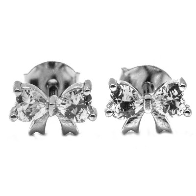 Elfi Genuine White Gold Silver Stud Earrings SGE27 – Life Ribbon