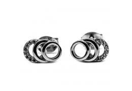 Elfi Genuine White Gold Silver  Stud Earrings SGE28 - Iris