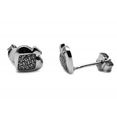 Elfi Genuine White Gold Silver Stud Earrings SGE30 – Ace Spade