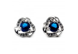 Elfi Genuine White Gold Silver Stud Earrings SGE32-Blue – Eye of Luna