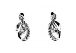 Elfi Genuine White Gold Silver Stud Earrings SGE33 – Musica
