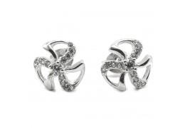 Elfi Genuine White Gold Silver Heaven Clover Stud Earrings SGE20