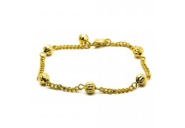 Elfi 916 Korean Gold 24K Plated Wrinkle Gold Beads Bracelet GPB-17