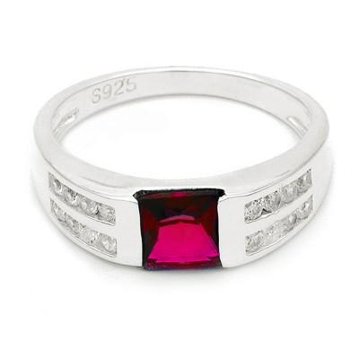 Elfi 925 Genuine Silver Engagement Ring R56(Red) - Pendulum