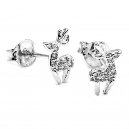 Elfi 925 Genuine Silver Diamond Cervidae Earrings SE116