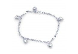 Elfi 925 Genuine Solid Silver Wave Hearts Anklet SA-8M