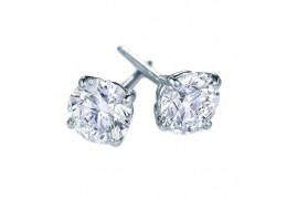 Elfi 925 Sterling Silver Crown 4-Prong Round Moissanite Earrings SE-1M