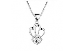 Elfi 925 Sterling Silver With 18K White Gold Plating Three Petals White Stone Necklace Pendant SP7