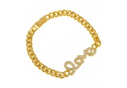 Elfi 916 Korean Gold 24K Plated Curb Chain Love Word Charm Bracelet GPB-11