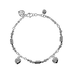 Elfi 925 Genuine Silver Twin Heart Charm Ladies Bracelet SB-62M