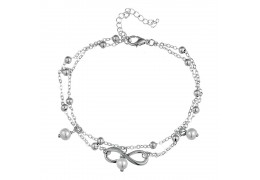 Elfi Silver Plated Infinity Pearl Charm Adjustable Ladies Anklet SA02-P