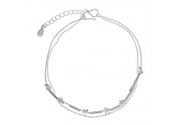 Elfi Silver Plated Star Ball Charm Ladies Anklet SA01-P