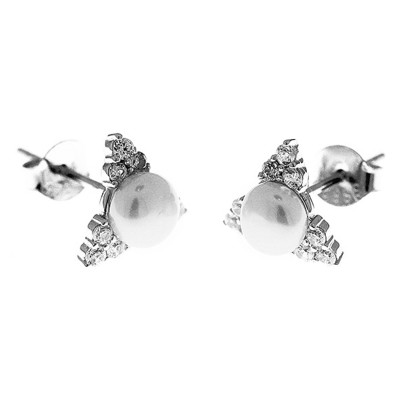 Elfi Genuine White Gold Silver Heart of Pearl Stud Earrings SGE18
